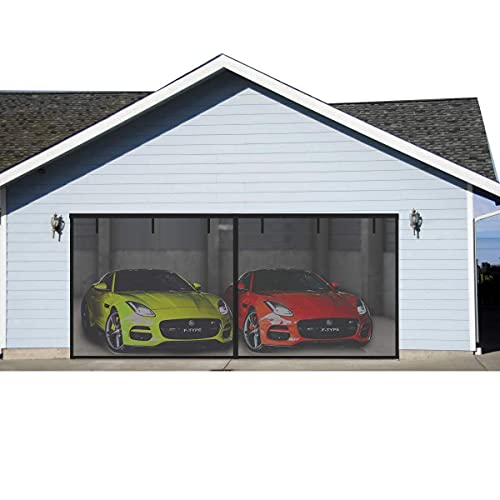 FBve Garage Door Screen for Double Garage Doors 16x7ft, Reinforced Fiberglass Mesh Durable Garage Screen Curtain Cover Kit with Magnetic Closure Weighted Bottom(6 Strapping Tapes Include)