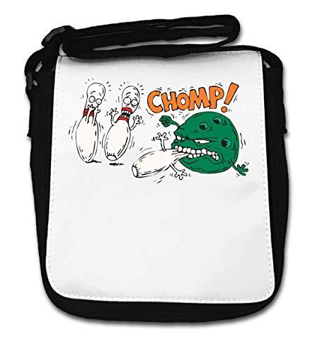 Bowling Ball Monster Eating Pins Funny Chomp Small Shoulder Bag