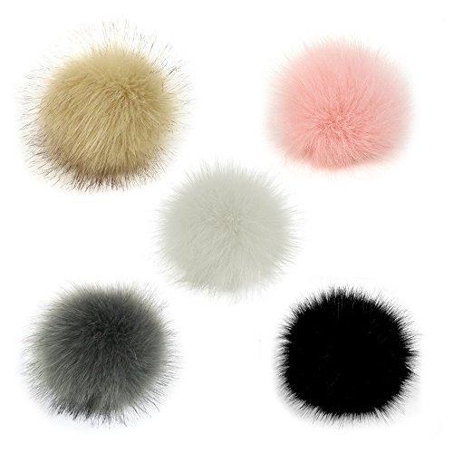 Gosear 5 Piezas 10 cm Faux Piel esponjosa Pom Pom Ball con cordón elástico Accesorios Desmontables para Tejer Sombrero de Lana de Punto Gorro de Invierno Gorro de esquí
