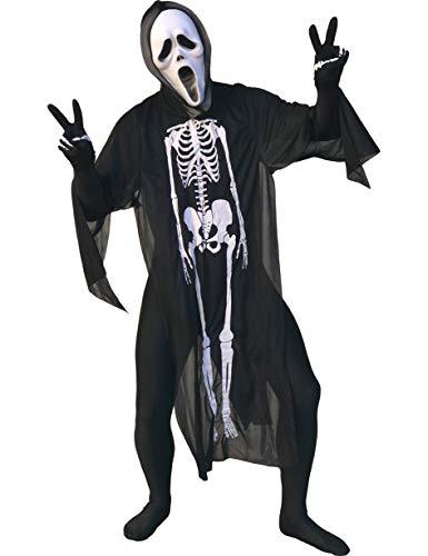 Balinco Lustiges Scream / Scary Movie Kostüm mit Scream Maske + Coole Schwarze Horror Kutte (Umhang) mit Skelett Aufdruck (Einheitsgröße / One Size Erwachsene) + schwarzen Handschuhen mit Handknochen