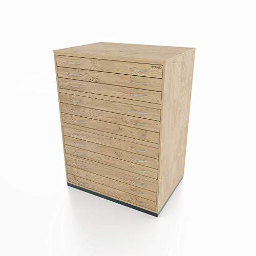 Heavy Duty traditionele stijl A1 12 lade plan borst eiken papier opbergkast met twaalf lades in staat om A1 formaat papier