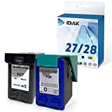 IDIAK Cartuchos de Tinta 27 28 remanufacturados compatibles con HP 27 28 con HP 240 Fax Deskjet 3320 3420 3425 3450 3520 3550 3620 3650 3740 3745 3747 5650 5850 Officejet5605 5610 6110 Negro+Tricolor