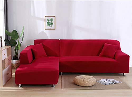 YANJHJY 1 Fundas elásticas de Licra de Color sólido para sofás, para Sala de Estar, Fundas seccionales de Licra de Color sólido para Esquinas, Fundas de sofá, Rojo, 2, Asiento y 2, Asiento