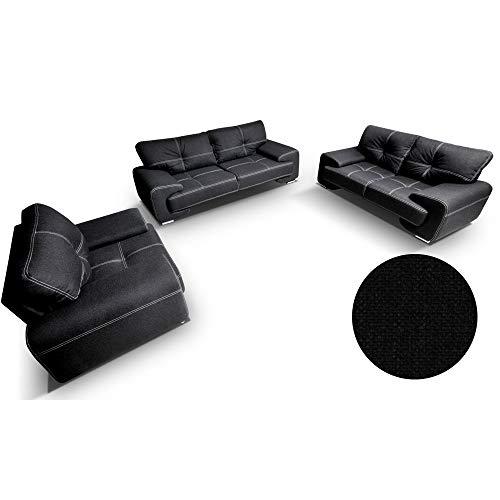 Bankstellen 3+2+1 (3-zitsbank, 2-zitsbank,een fauteuils) voor woonkamer,moderne bank -ENZO (Zwart)