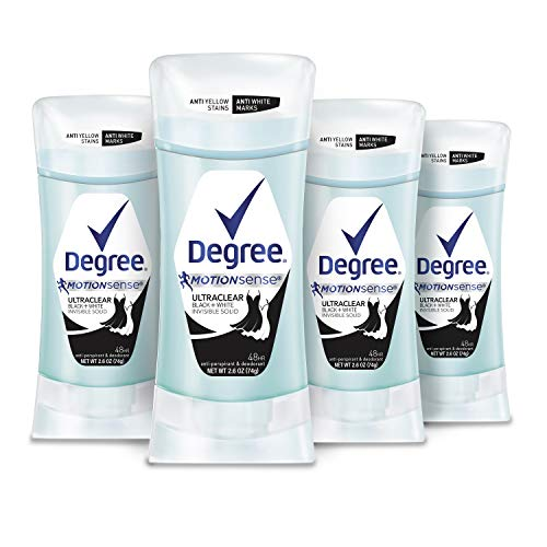 DEGREE UltraClear Antiperspirant for Women Protects from Deodorant Stains Black+White Deodorant for Women, 2.6 oz, Basic, Black + White, 4 Count, (Pack of 4)