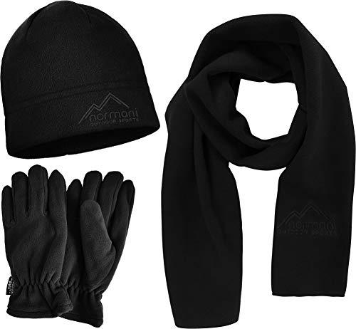 normani Wärmendes, funktionales Winterset aus Microfleece-Mütze, Schal und 3M Thinsulate Handschuhe (40 g) - Unisex Farbe Schwarz Größe L