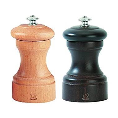 Peugeot 2/22594 Bistro 4 Inch Chocolate Pepper Mill and 4 Inch Natural Salt Mill Set