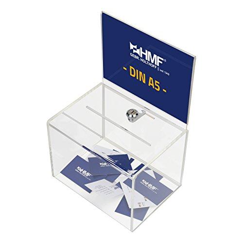 HMF 46913 Caja de donación de acrílico con inserto de hojas | 21,5 x 16 x 16 cm | DIN A5 | Transparente