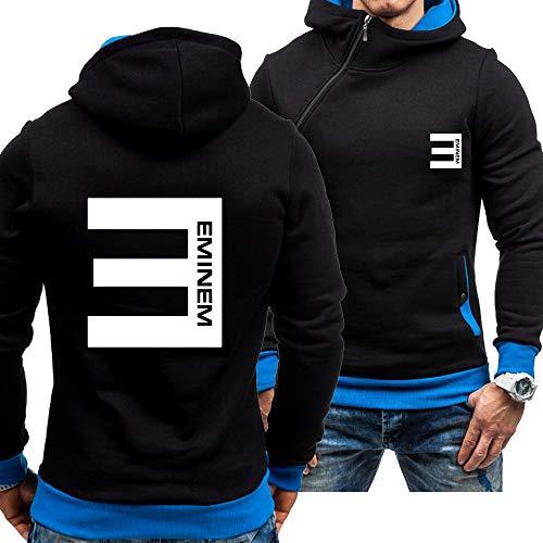 CSHASHA Sudadera con Capucha Hombre Oblique Zip Jerseys - Sudadera Impresa Eminem Chaqueta con Capucha De Manga Larga con Capucha Top con Capucha De Béisbol - Adolescente Regalo Blue-Large