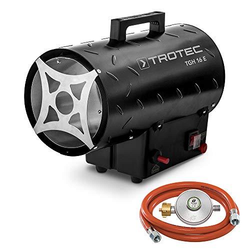 TROTEC Gasheizgebläse TGH 16 E Gas Heizgerät inkl Verbindungschlauch und Druckminderer Heizleistung bis 15 kW, 320 m³/h Luftdurchsatz, für handelsübliche Gasflaschen, Piezozündung