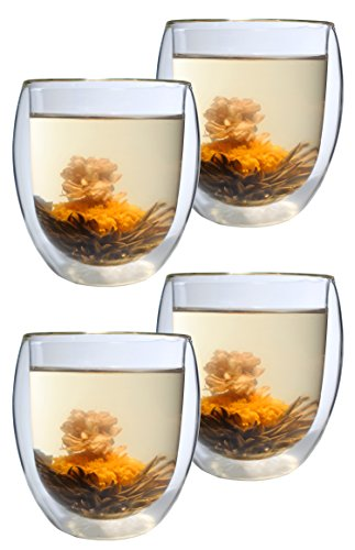 Feelino Aktion: 4er-Set XXL Teegläser 400ml DOPPELWANDIG mit 4 Teeblumen Ice-Bloom mit Schwebeeffekt - extra großes Thermo-Glas inkl. 4 Weißtee-Teeblumen, edler Erblühtee