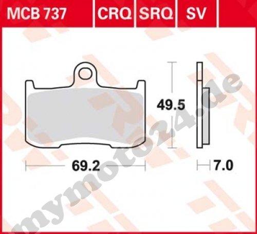 Bremsbelag TRW / Lucas MCB737SV, Sinter Performance mit ABE für Kawasaki Z1000 Baujahr 2003