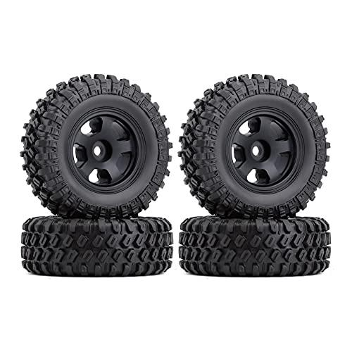 HYZZ Neumáticos de Coche de Juguete 4 Uds 1,0 '49 * 18mm Beadlock Micro Llantas De Rueda De Orugas Juego De Neumáticos para 1/24 RC Crawler Car Axial SCX24 90081 AXI00001 ( Size : 4PCS AX2402BK )