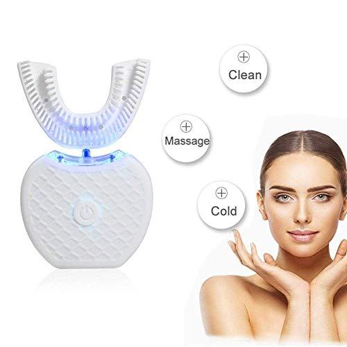 Vollautomatischer Elektrische Zahnbürste mit variabler Frequenz U Typ 360 ° Ultraschall U-Typ Kaltlicht Zähne Whitening Zahnbürste Mundreiniger