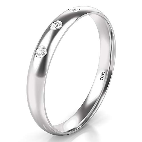 Sz 6.0 Solid 10K White Gold 3 Diamond 3MM Dome Wedding Anniversary Band Ring