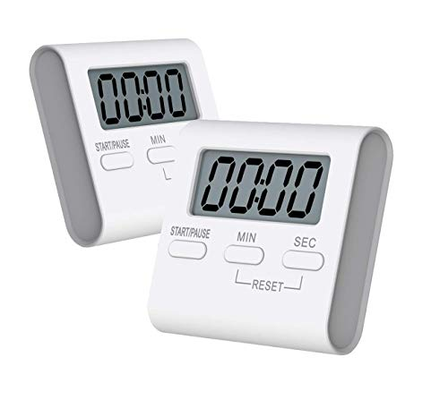 SATINWOOD Kitchen Timer, 2 Pack Digital Kitchen Timers Magnetic Countdown Timer with Loud Alarm, Big Digits, Back Stand for Cooking, Classroom, Teachers - AAA Battery Included,White