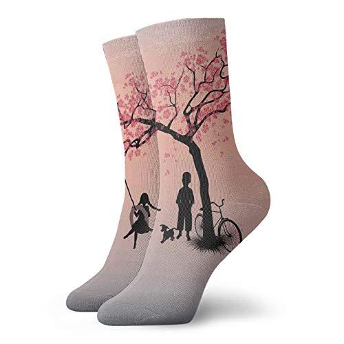 Calzini corti lunghi al polpaccio per bambini che giocano su un pneumatico swing sotto albero di ciliegio con fiore di cane primavera Art,calze da donna e uomo migliori per correre