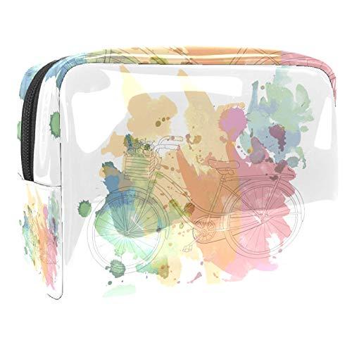 Bolsa de maquillaje de viaje para bicicleta de 18,5 x 7,6 x 13 cm, bolsa de maquillaje, bolsa multifuncional para mujeres y hombres