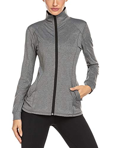Damen Laufjacke Trainingsjacke - Fitness Sweatshirt voll Zip atmungsaktiv Sport Jacke Langarm Shirt im Winter