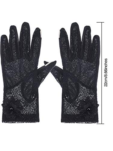 SATINIOR Ladies Lace Floral Gloves Elegant Short Lace Gloves Courtesy Summer Gloves for Wedding Parties (Black)