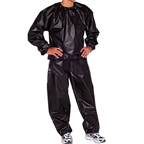 Evaliana Sweat Track Sauna Suit Fitness Weight Loss Exercise Gym Training Black XXXXXLarge