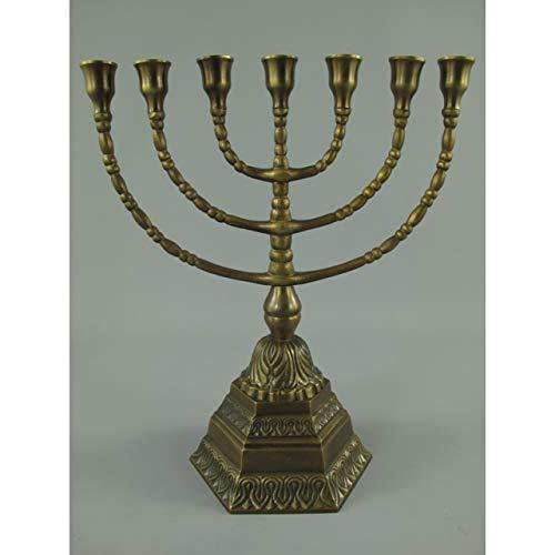 GR Menora Davidleuchter 7-armig 34cm Kerzenleuchter Ständer Bronze Antik Menorah