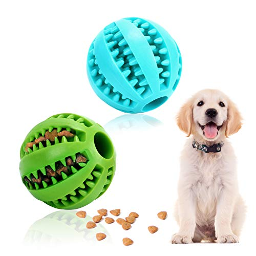 Hundespielzeug Ball - 2 Stück Hundespielzeug Intelligenz Naturkautschuk Robuster Hundeball Welpenspielzeug Ball Set Snackball kauspielzeug Hund für Große Kleine Hunde (Grün+Blau)