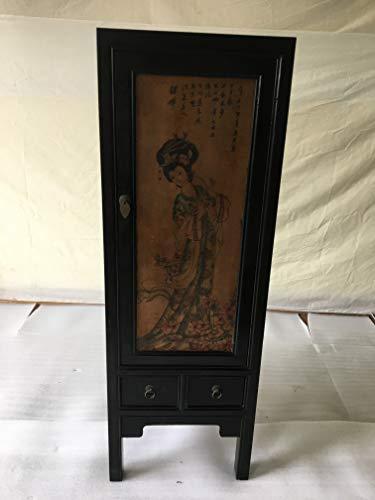 Armario chino antiguo Tibet Asiatika - Armario de 1 puerta china - Ancho 45 x altura 131 cm