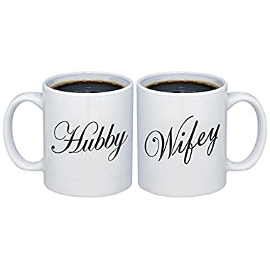P&B Hubby - Wifey Valentines Gifts for Couples Coffee Mugs MCPL105 (Ceramic, 11 oz. (Set of 2))