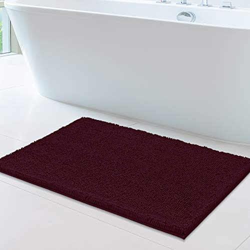 MAYSHINE 24x39 Inches Non-Slip Bathroom Rug Shag Shower Mat Machine-Washable Bath Mats with Water Absorbent Soft Microfibers of - Burgundy