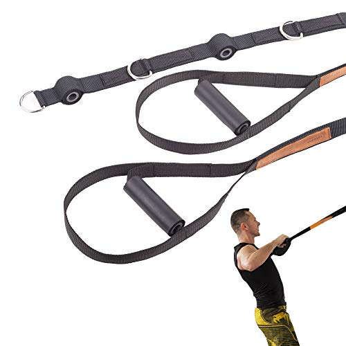 TRX Training Straps - Easy to Adjust - Ideal for Use at Home, Gym and Outdoors - Great Resistance of up to 250 Pounds (US-TRX-Negro)