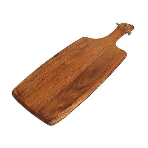 Kaizen Casa Tabla de cortar de madera de acacia, tabla de queso, tablas de cortar para cocina, carnicero para carne y verduras, tabla de madera con asas de agarre (43,18 x 17,78 x 2,54 cm)