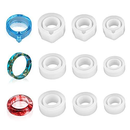 9 Piezas Anillos Resina Epoxi Forma Molde,Fundición Resina Silicona,Moldes Epoxi Círculo Redondo Pendiente Bricolaje Para Decoración,Suministros Fabricación Artesanía Curvada Colgante Cristal Regalos