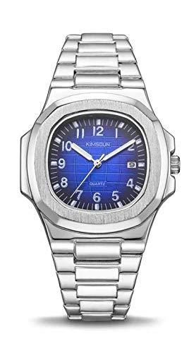 KIMSDUN - Reloj de Pulsera para Hombre (Acero Inoxidable, 40 mm), Color Azul