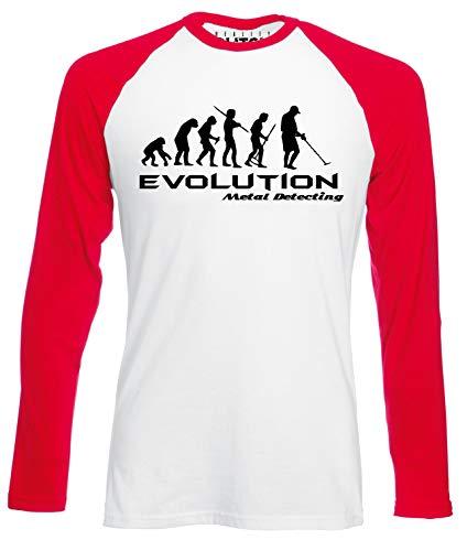 Reality Glitch Evolution of Metal Detector Mens Baseball Shirt - Long Sleeve (White/Red, XL)