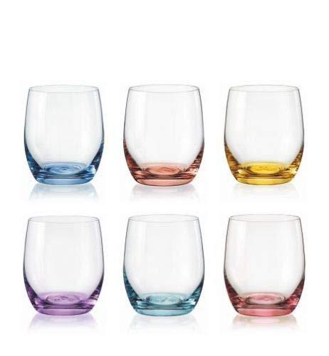 Bohemia Rotweingläser Kristall, Weinglas Mehrfarbig, Model Spectrum, Mehrfarbig, 550 ml, 6er Set (Wassergläser 300 ml)