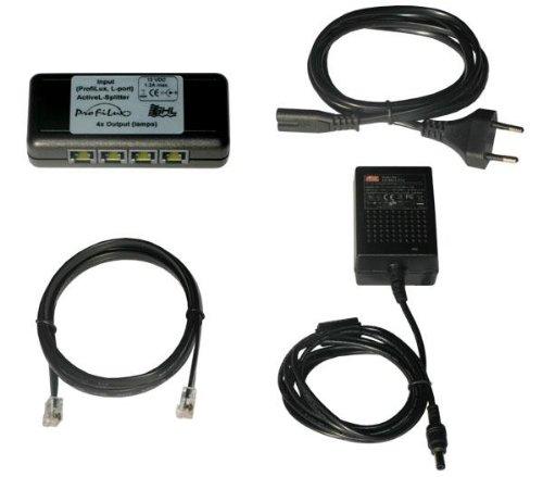 GHL actieve verdeler voor het aansluiten van 4 LED-lampen op een ProfiLux, met 1 m kabel en netvoeding