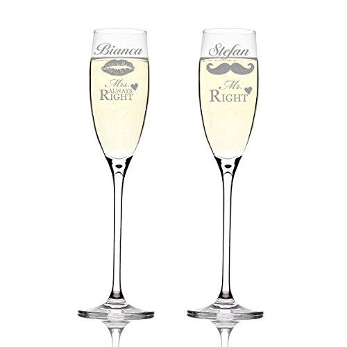 Dos copas Leonardo Cheers con diseño grabado: Mr. Right y Mrs. Always Right