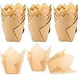 STARUBY 150 Stück Tulpen Backpapier Schalen Papier Cupcake Wrapper Papier Kuchen Cup Muffin Einlagen Papierförmchen für Dessert Mottoparty 2x3x3 Zoll Natürliche Farbe