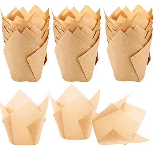 150pcs Tulip Cupcake Liners Natural Baking Cups Muffin Paper Liner Grease-Proof Wrappers for Wedding, Birthday Party, Standard Size, Natural Color
