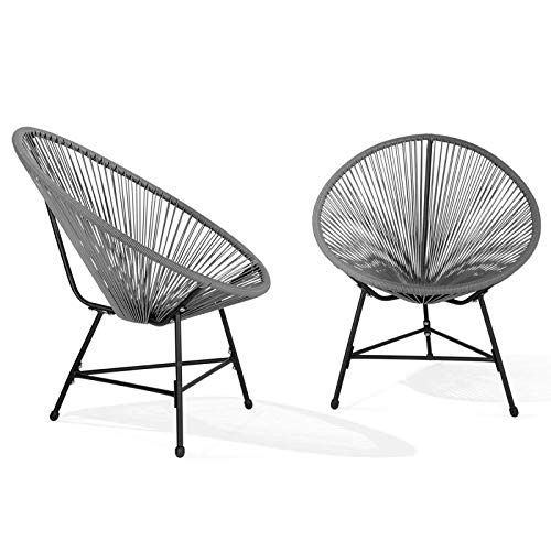IDMarket - Lot de 2 fauteuils de Jardin Izmir Gris Design Oeuf avec Cordage Plastique