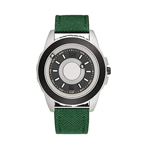 SXWL Mans Watch Hot Sale EUTOUR Magnetic Ball Pointer Quartz Watch Black Fashion Steel NylonnStrap Minimalist Watch Blind Men Watches (Color : Silver Green Canvas)