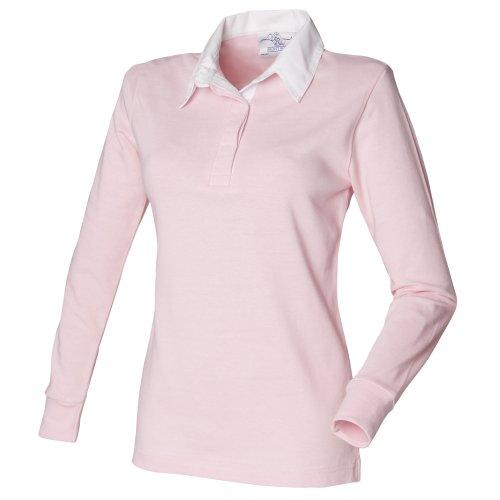Front Row Damen Rugby Polo Shirt Langarm (2XLarge) (Hellrosa/Weiß)
