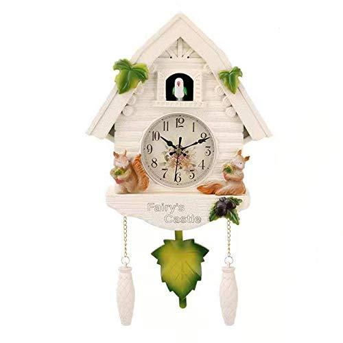 TPYFEI Reloj de Pared de pájaro Lindo Reloj de Alarma de Cuco Reloj de Cuco Reloj de Sala de Estar Simple decoración de Dormitorio para niños hogar día Reloj Despertador Ardilla Blanca