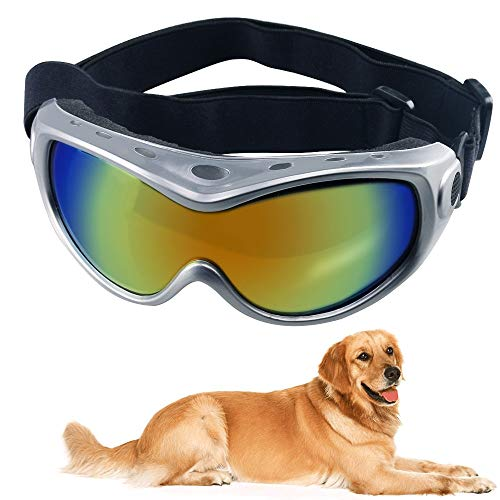 URBEST Dog Goggles, Eye Protection Dog Sunglasses for Dogs, Dog Ski Goggles with UV Protection with Adjustable Strap for Travel, Anti-Fog (Silver)
