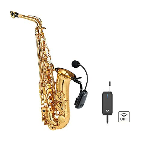 Wireless Saxophone Microphone UHF for Musical Instruments Speaker Voice Amplifier with Receiver Clip Professional Orchestra Trumpet Saxo HiFi Megaphone Condenser Portable Handheld Mini Mic