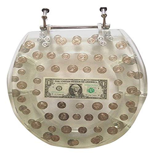 Daniel's Bath & Beyond Polyresin Round Toilet Seat with Dollars and Coins, 17', Clear