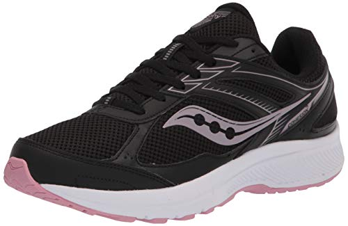 Saucony Women's Cohesion 14 Road Running Shoe, Black/Pink, 9