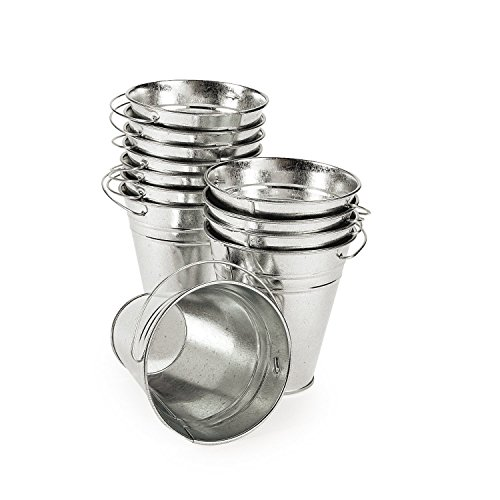 LARGE GALVANIZED BUCKETS - Party Supplies - 12 Pieces
