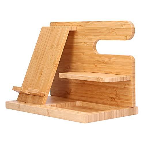 Surebuy Soporte para Gafas, Retro Exquisita Mano de Obra Soporte para teléfono Celular Duradero con Madera de bambú para Oficina para Sala de Estar